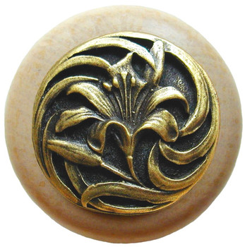 """Notting Hill, Tiger Lily, 1 1/2"""" Round Wood Knob, in Antique Brass with Natural wood finish"""