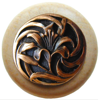 "Notting Hill, Tiger Lily, 1 1/2"" Round Wood Knob, in Antique Copper with Natural Wood Finish"