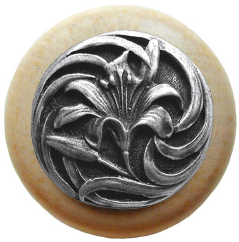 """Notting Hill, Tiger Lily, 1 1/2"""" Round Wood Knob, in Antique Pewter with Natural wood finish"""