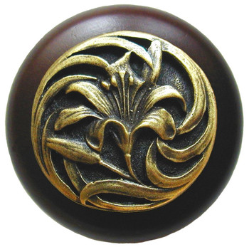 """Notting Hill, Tiger Lily, 1 1/2"""" Round Wood Knob, in Antique Brass with Dark Walnut wood finish"""