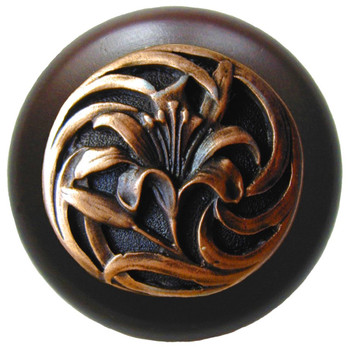 "Notting Hill, Tiger Lily, 1 1/2"" Round Wood Knob, in Antique Copper with Dark Walnut Wood Finish"