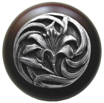 """Notting Hill, Tiger Lily, 1 1/2"""" Round Wood Knob, in Antique Pewter with Dark Walnut wood finish"""