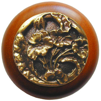 """Notting Hill, Hibiscus, 1 1/2"""" Round Wood Knob, in Antique Brass with Cherry wood finish"""