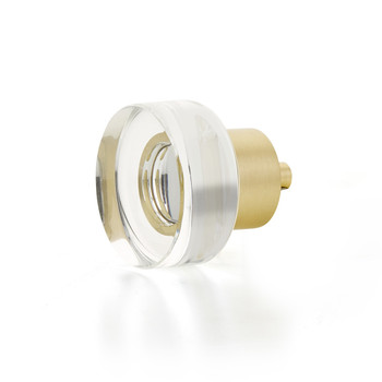 "Schaub and Company, City Lights, 1 3/8"" Disc Round knob, Clear with Satin Brass"