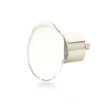 "Schaub and Company, City Lights, 1 3/4"" Oval knob, Clear with Polished Nickel"