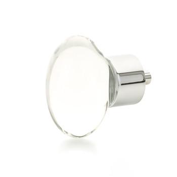 """Schaub and Company, City Lights, 1 3/4"""" Oval knob, Clear with Polished Chrome"""