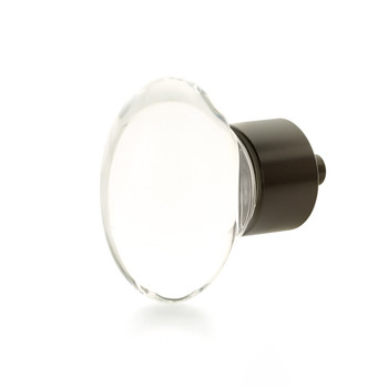 """Schaub and Company, City Lights, 1 3/4"""" Oval knob, Clear with Oil Rubbed Bronze"""