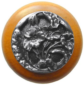 "Notting Hill, Hibiscus, 1 1/2"" Round Wood Knob, in Antique Pewter with Maple Wood Finish"