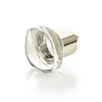 "Schaub and Company, City Lights, 1 1/4"" Soft Cornered Square Knob, Clear with Polished Nickel"