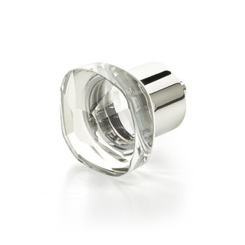 "Schaub and Company, City Lights, 1 1/4"" Soft Cornered Square knob, Clear with Polished Chrome"