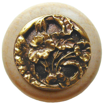 "Notting Hill, Hibiscus, 1 1/2"" Round Wood Knob, in Antique Brass with Natural Wood Finish"