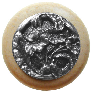 "Notting Hill, Hibiscus, 1 1/2"" Round Wood Knob, in Antique Pewter with Natural Wood Finish"