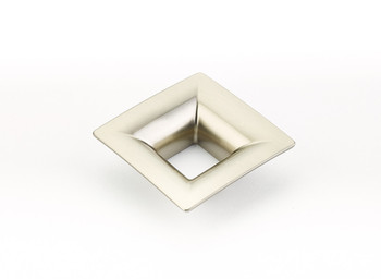 "Schaub and Company, Finestrino, 1 1/4"" (32mm) Small Flared Square Pull, Satin Nickel"