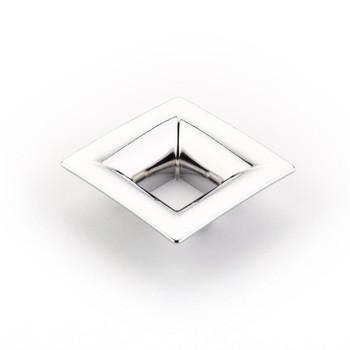 "Schaub and Company, Finestrino, 1 1/4"" (32mm) Small Flared Square Pull, Polished Chrome"