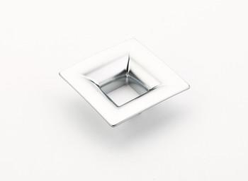"""Schaub and Company, Finestrino, 1 1/4"""" (32mm) Small Flared Square Pull, Matte Chrome"""