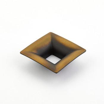"Schaub and Company, Finestrino, 1 1/4"" (32mm) Small Flared Square Pull, Burnished Bronze"