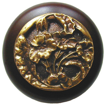 "Notting Hill, Hibiscus, 1 1/2"" Round Wood Knob, in Antique Brass with Dark Walnut Wood Finish"