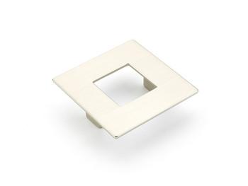 """Schaub and Company, Finestrino, 2 1/2"""" (64mm) Small Square pull, Satin Nickel"""