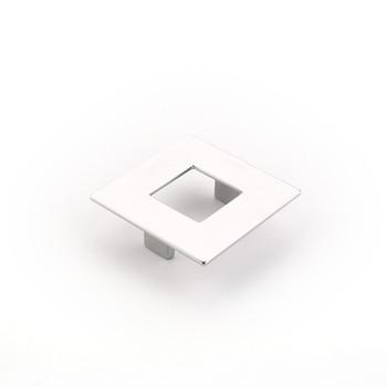 """Schaub and Company, Finestrino, 2 1/2"""" (64mm) Small Square pull, Matte Chrome"""