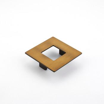 "Schaub and Company, Finestrino, 2 1/2"" (64mm) Small Square pull, Burnished Bronze"