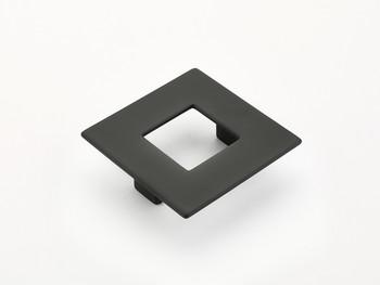 """Schaub and Company, Finestrino, 2 1/2"""" (64mm) Small Square pull, Matte Black"""