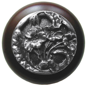 "Notting Hill, Hibiscus, 1 1/2"" Round Wood Knob, in Antique Pewter with Dark Walnut Wood Finish"