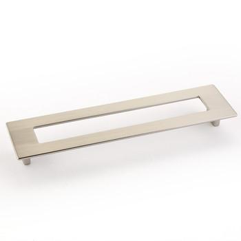 "Schaub and Company, Finestrino, 7 9/16"" (192mm) Extra Large Square pull, Satin Nickel"