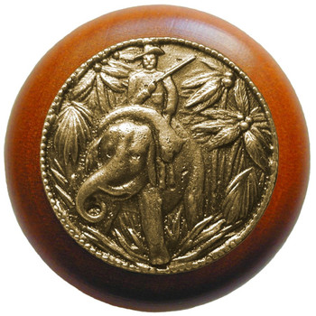 "Notting Hill, Jungle Patrol, 1 1/2"" Round Wood Knob, in Antique Brass with Cherry wood finish"