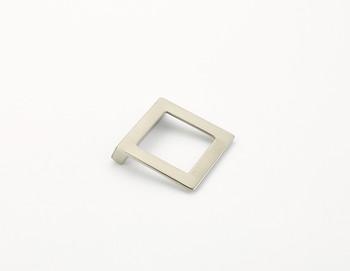 "Schaub and Company, Finestrino, 1 1/4"" (32mm) Angled Square Drop Pull, Satin Nickel"