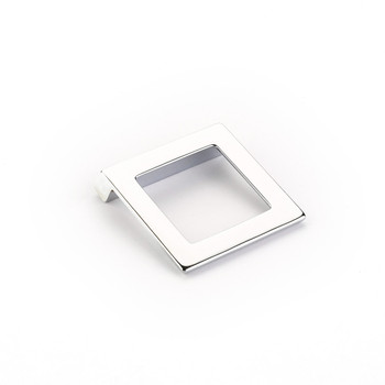 "Schaub and Company, Finestrino, 1 1/4"" (32mm) Angled Square Drop pull, Polished Chrome"
