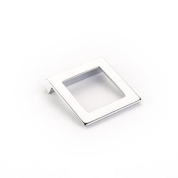 "Schaub and Company, Finestrino, 1 1/4"" (32mm) Angled Square Drop Pull, Polished Chrome"