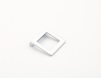 "Schaub and Company, Finestrino, 1 1/4"" (32mm) Angled Square Drop Pull, Matte Chrome"