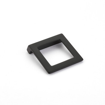 "Schaub and Company, Finestrino, 1 1/4"" (32mm) Angled Square Drop pull, Matte Black"