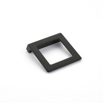 """Schaub and Company, Finestrino, 1 1/4"""" (32mm) Angled Square Drop Pull, Matte Black"""