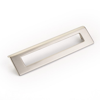 "Schaub and Company, Finestrino, 6 5/16"" (160mm) Angled Square Drop pull, Satin Nickel"