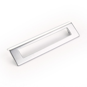 "Schaub and Company, Finestrino, 6 5/16"" (160mm) Angled Square Drop pull, Matte Chrome"