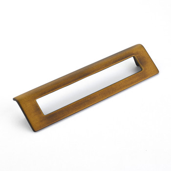 "Schaub and Company, Finestrino, 6 5/16"" (160mm) Angled Square Drop pull, Burnished Bronze"