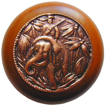 "Notting Hill, Jungle Patrol, 1 1/2"" Round Wood Knob, in Antique Copper with Cherry wood finish"