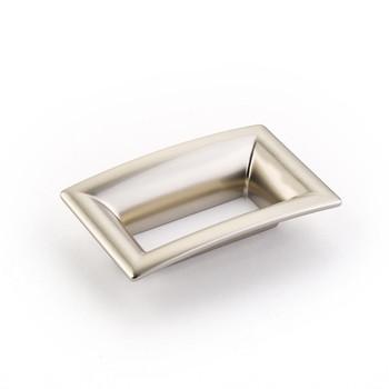 "Schaub and Company, Finestrino, 2 1/2"" (64mm) Medium Flared Square Pull, Satin Nickel"