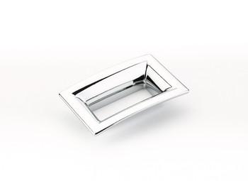 "Schaub and Company, Finestrino, 2 1/2"" (64mm) Medium Flared Square Pull, Polished Chrome"