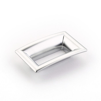 "Schaub and Company, Finestrino, 2 1/2"" (64mm) Medium Flared Square Pull, Matte Chrome"