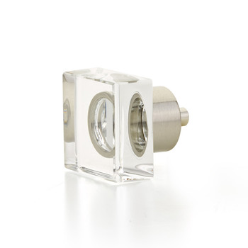 "Schaub and Company, City Lights, 1 1/4"" Square Knob, Clear with Satin Nickel"