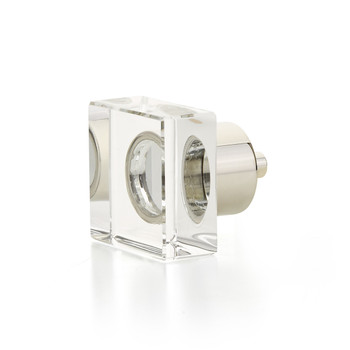"Schaub and Company, City Lights, 1 1/4"" Square Knob, Clear with Polished Nickel"