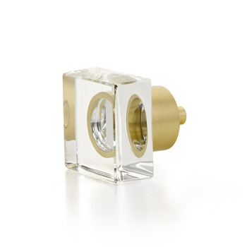 "Schaub and Company, City Lights, 1 1/4"" Square Knob, Clear with Satin Brass"