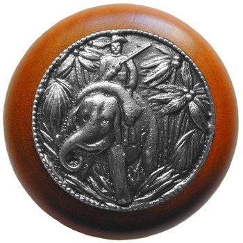 "Notting Hill, Jungle Patrol, 1 1/2"" Round Wood Knob, in Antique Pewter with Cherry wood finish"