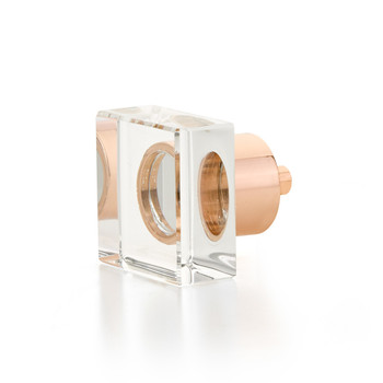 "Schaub and Company, City Lights, 1 1/4"" Square Knob, Clear with Polished Rose Gold"