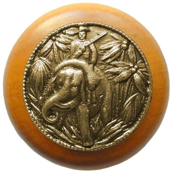 "Notting Hill, Jungle Patrol, 1 1/2"" Round Wood Knob, in Antique Brass with Maple wood finish"