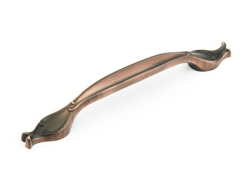 """Schaub and Company, French Farm, 8"""" Curved Pull, Empire Bronze"""