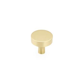 "Schaub and Company, Haniburton, 1 1/4"" Flat Top Round Knob, Satin Brass"