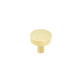 "Schaub and Company, Haniburton, 1 1/4"" Flat Top Round Knob, Unlacquered Brass"